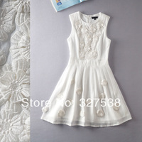 2014 summer new thin solid three-dimensional flower sleeveless dress