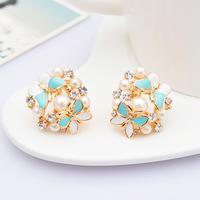 New 2014 Enamel butterfly earrings non pierced spiral stud Fashion jewelry for women 0