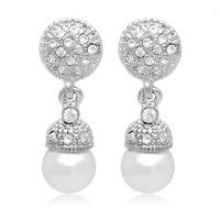 New 2014 Fashion Japan and South Korea jewelry small full Rhinestone pearl earrings non pierced ear clip stud 0