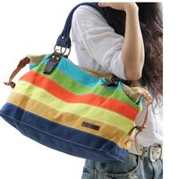 Bags Handbags Women Famous Brands Real Handbags Free Shipping 2014 Women's Handbag Colorful Stripe Messenger Bag Rainbow Canvas