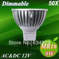 Wholesale 50X High Bright Free DHL Dimmable MR16 3x3W 9W 500-550LM LED Spotlight Lamp CREE LED AC12V Light Bulb Downlight .