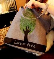 2014 Real Bolsas Free Shipping Cloth Canvas Bag Fingerprint One Shoulder Big Bags Large Capacity Nappy Shopping Student #0148
