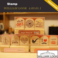 Min.order is $25 (mix order) stationery Cute Creative paris wooden DIY stamp Decorative school 1 set promotion JP403011
