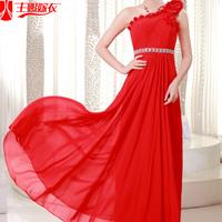Long formal dress 2013 one shoulder bridal evening dress red slim bridesmaid dress evening dress