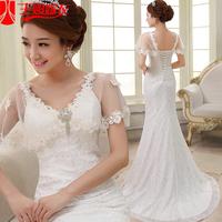 New arrival 2013 spaghetti strap fish tail wedding dress pure lace slim hip small cape train wedding dress