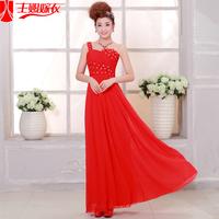 2013 bride bridesmaid dress evening dress married the bride long design red one shoulder slim