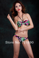 Bikinis 2014 new fasion flowers and Generous plus size XX XL swim suit push up sexy bikini