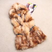 Hot Selling! 2014 Spring New Women Genuine Raccoon Fur Coats Natural Fox Fur Vests Waistcoats Hooded Customized Fur Gilets