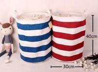 Jute and canvas  Dirty Clothes Casket Laundry basket rectangle dot design have  tighten belt box 30*40cm
