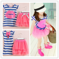 2014 New Summer Children Girls Clothing set Sweet Cotton Hotlips Sleeveless Tees Gauze Bubble Tutu Skirts Baby Twin Suits 625110
