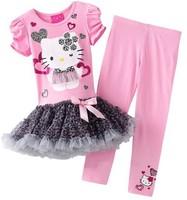 2014 New Arrival Children Clothing Girl Suit Long Sleeve Short Sleeve Heart Print Hello Kitty Dress+Leggings Girl Set Summer