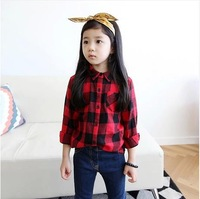 Spring 2014 new girl shirts plaid shirt long sleeve baby girls korean style shirts.children clothing.red plaid.  Free ship 334