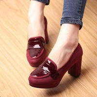 Spring casual women's thick heel shoes fashion high heel pumps round toe platform shoes  FREE SHIPMENT
