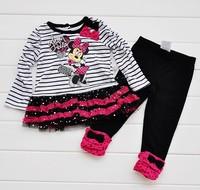2013 New Girls Suit Long Sleeves Minnie Mouse Bowknot Decor Glitter Sequins Lace Brim Striped Tutu Dress T shirt+ Long Pants Set