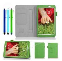 For LG G Pad Gpad 8.3 V500 Tablet Folding Slim Handle Leather Case Cover +Stylus