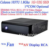 2014 Mini PC Terminal TV computer with rca video AV S-VIDEO output Intel Celeron C1037U 1.8Ghz NM70 chipset 1G RAM 32G SSD