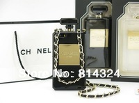 High Quality  Fragrance Soft TPU Perfume bottle Case cover For Iphone 5 5s With  Metal Leather Chain