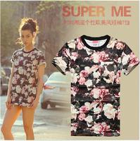 [AMY] New style  2014 women/men t shirt o-neck Fashion 3d cotton t shirt ,3D printed t-shirts for women's Free shipping