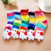 Children Spring Summer Rainbow Thin cotton socks Baby Sock for 1-2years old 6pcs/lot