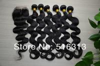 Queen Brazilian Virgin Hair Extension 6 pcs body wave Lace Closure With Brazilian Hair Bundles 4x4 Middle Part Lace Top Closure