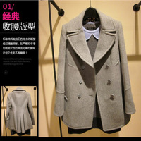 2014 spring slim double breasted woolen outerwear all-match fashion formal suit collar wool coat female