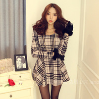 2014 spring slim long-sleeve plaid basic one-piece dress high waist ol elegant one-piece dress female