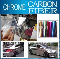 "10x152CM 4""x60"" Car Chrome Carbon Fiber Sticker Aluminum Sticker Car Wrap Sticker Mirror Film Polished Vinyl Car Carbon Fiber"