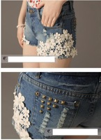 Women Girls Lace Flower Flange Hole Wash Jeans Denim Shorts Pant Summer 2014 New Vintage Retro Trousers Fashion Plus Size Rivet
