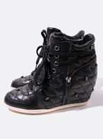 Sundy high quality elegant plaid stitch small skull elevator casual high-top shoes