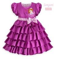 Hot Sale Free Shipping Child Girl Dress Cartoon Girl Printed Tiered Dress Bow Decor Princess Dresses Party Wear Purple