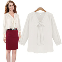 Free Shipping 2014 Spring New Women's The Bow Fashion V-neck 7 Minutes Of Sleeve Chiffon Blouse 1403003