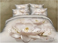 snowy white full bedding set adult cotton white satin Chinese flower pattern comforter 3d sheet set/blanket bed cover bed linen
