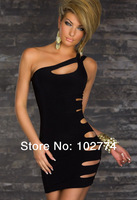 N086 one shoulder take black green red hot sexy dress intimate babydolls for night wear erotic lingerie