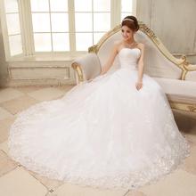 Wedding dress 2014 hot sale famous designsweet lace strap tube top train princess slim bride wedding dress Freeshipping(China (Mainland))