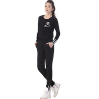 Women Large Size XL-4XL Black Suit Set 2pcs Separted Fat Tracksuit Free Shipping d5500