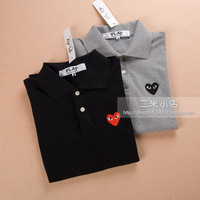 2014 summer Comme des garcons cdg play embroidery love lovers turn-down collar polo shirt