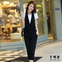 сексуальная! Новый плюс размер xl зеленый белье Корея jumsuits & Комбинезоны женские глубокий v-образным вырезом широкие брюки с поясом летом