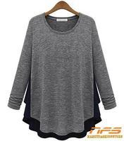 Free Shipping! 2014 Hot selling! Fashion loose style t-shirt long sleeve chiffon hem desgin