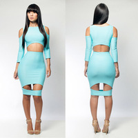 Bandage Dress S M L Plus Size Vestidos Women New Fashion Sexy Blue Hollow Out Bodycon Bandgae Dress Club Party Dress KM037