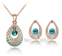 Pendant Necklace Stud Earring 18K White Gold Plated Rhinestone Zircon Austrian Crystal Gift For Woman African Jewelry Set