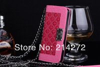 Free shipping 2014 Newest Cases For Luxury Visa Card Holder Chain Handbag Brand logo iphone 5 Leather Flip Case