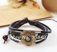 Wholesale Bracelets Women's Vintage Retro Lucky Flower Beaded Leather Bracelets, Women Accessories 30 PCS/LOT