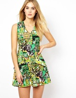 Free Shipping 2014 Spring New Women's Sleeveless V-neck Printed False Two-piece Patchwork Dress S,M,L 1403002