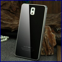 Luxury Note 3 Toughened glass battery back cover cases hard metal frame cell phone case for Samsung galaxy note3 N9000