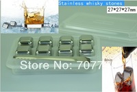 Free DHL  Stainless steel whisky wine rocks,whiskey beer juice ice stone, bar accessaries pyhsical cooling ice cube(8pcs/box)