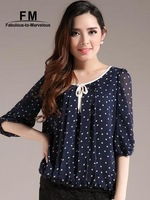 Round Neck Chiffon Blouse Polka Dot Women New 2014 Shirt Blusas Femininas Camisa Half Sleeve Roll Up Vintage Top SS14B011