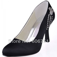 Black round toe satin 9 cm high heel women prom party pumps shoes with rhinestone charm custom color wedding bride shoes
