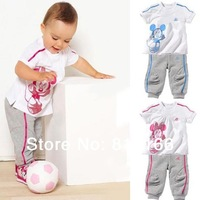 children 1set girls and boy Minnie mickey children suit children's T short sleeve + children's pants/Children summer clothes