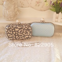 High Quality pearl long chain female fashion clutch evening bag diamond sweet plaid day clutch bag banquet bag