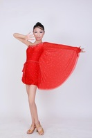2014 Custom-size One-Shoulder Kid Latin Dance Dress 3~15T Luxury Child girl One-Piece Bling Cha-Cha Perform Costume Mixed Colors